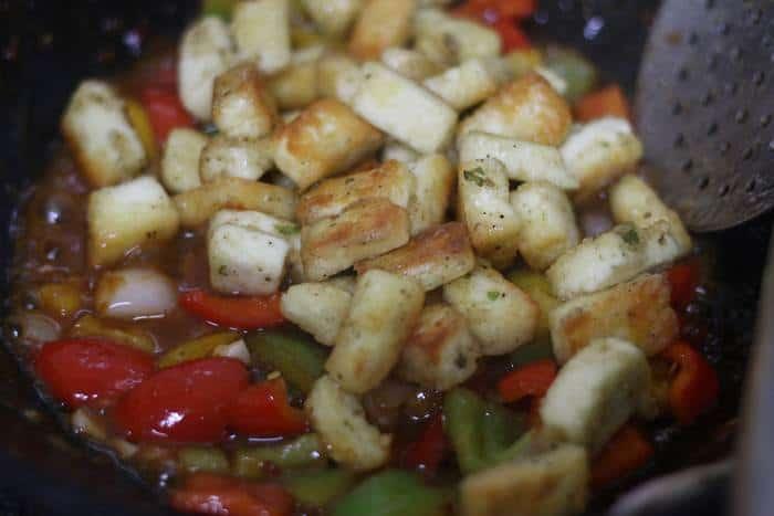 pan fried tofu added to kung pao sauce.