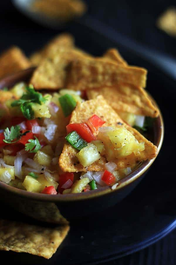 pineappl salsa served with tortilla chips