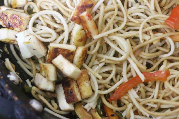 pan fried tofu added to sesame noodles