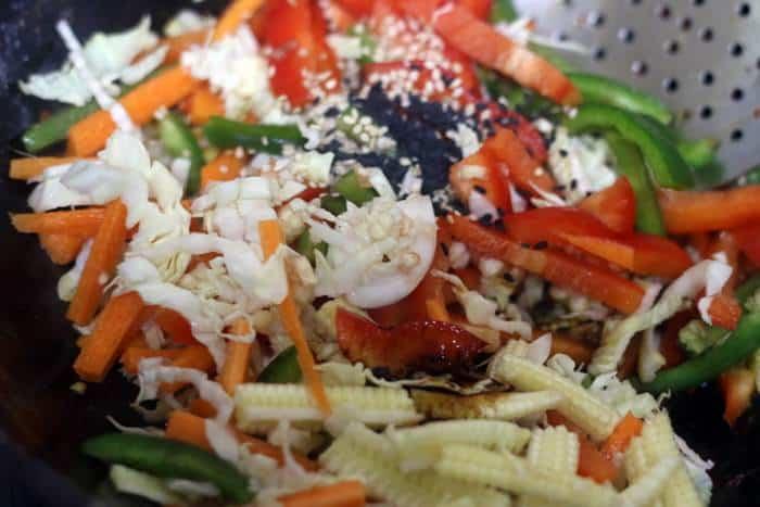 sesame seeds added to vegetables