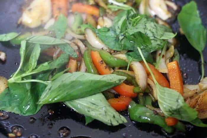 thai basil added to stir fry