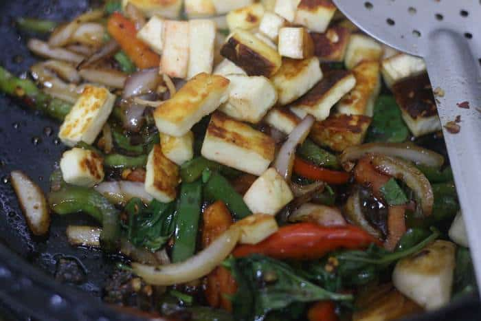 tofu added to stir fry veggies