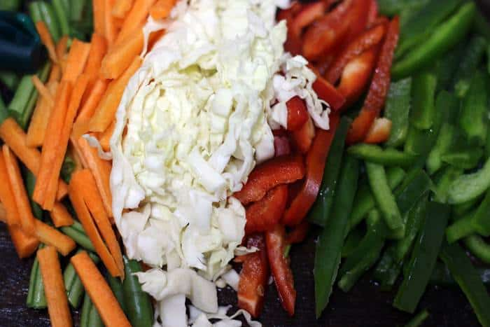 chopped veggies for fried rice