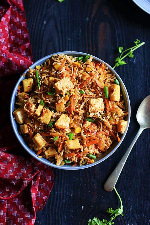 vegan fried rice with pan fried tofu