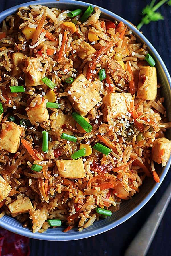 closeup shot of vegan fried rice