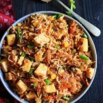 vegan fried rice with tofu ready to serve
