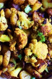 closeup shot of aloo gobi-potatoes and cauliflower curry