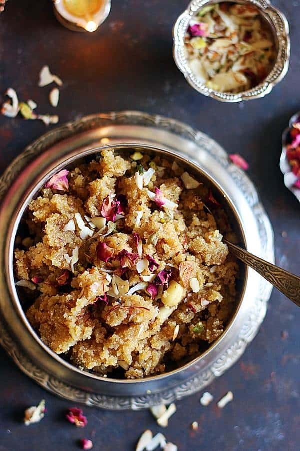 best suji ka halwa served in a silver bowl and tray
