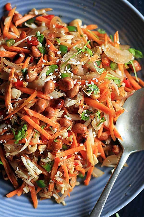 Thai style carrot salad with crunchy roasted peanuts