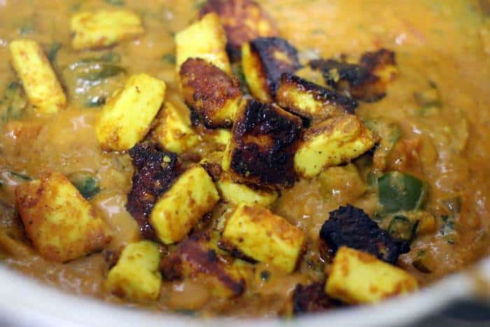 toffu tikka added to masala sauce