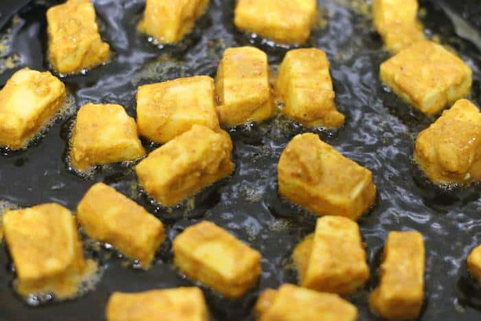 making tofu tikka on stovetop