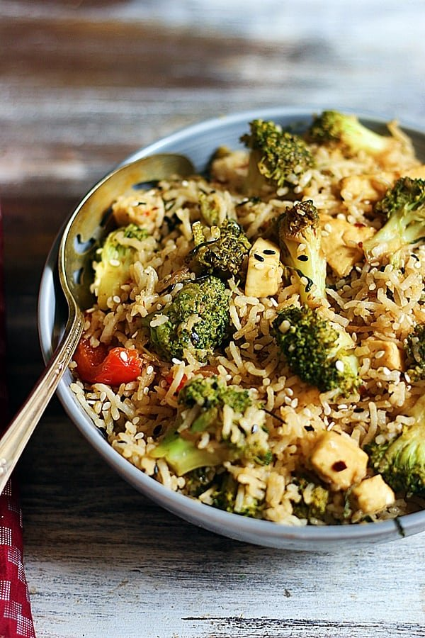 easy broccoli fried rice served with a spoon