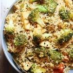 broccoli fried rice in a grey ceramic bowl