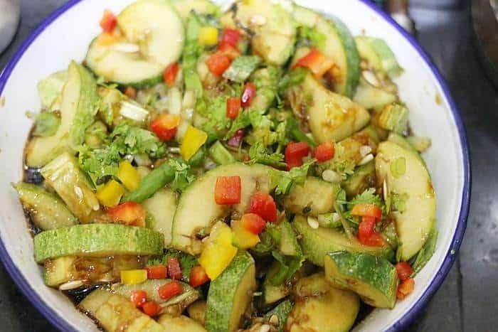 smashed cucumber salad making