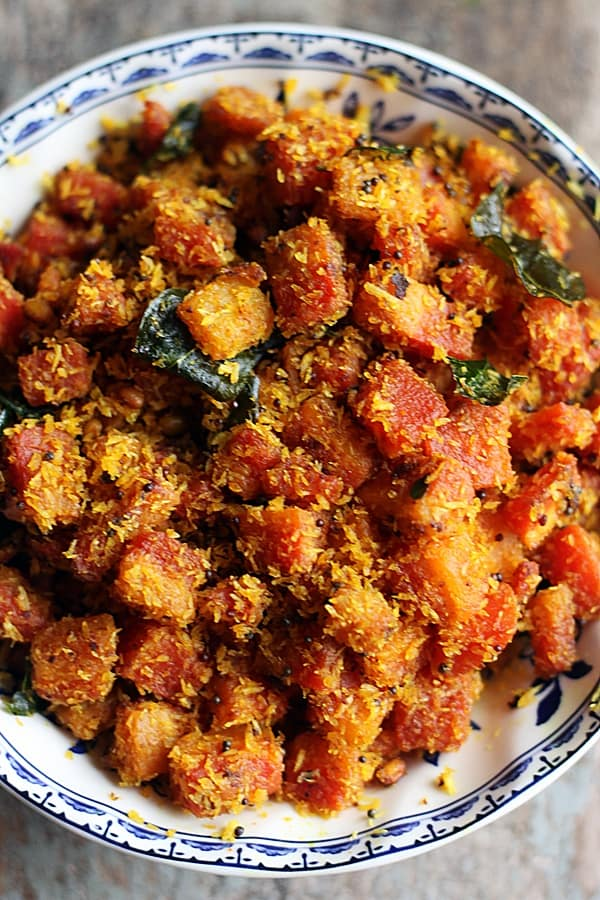 closeup shot of south Indian style carrot fry