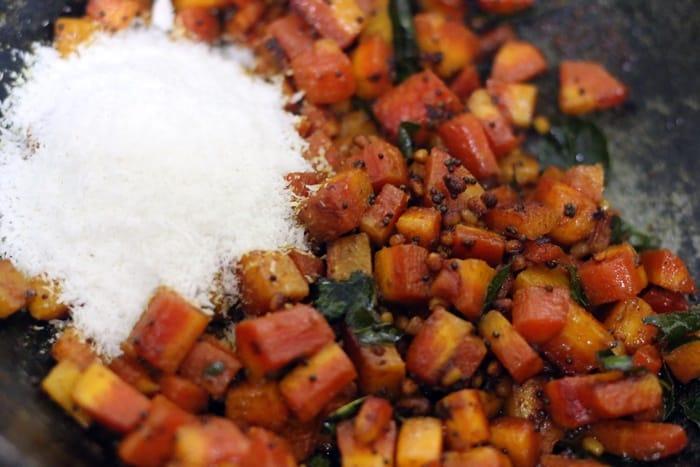fresh coconut added to carrot poriyal