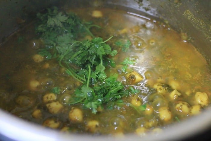 finely chopped coriander leaves or cilantro leaves added to chana saag