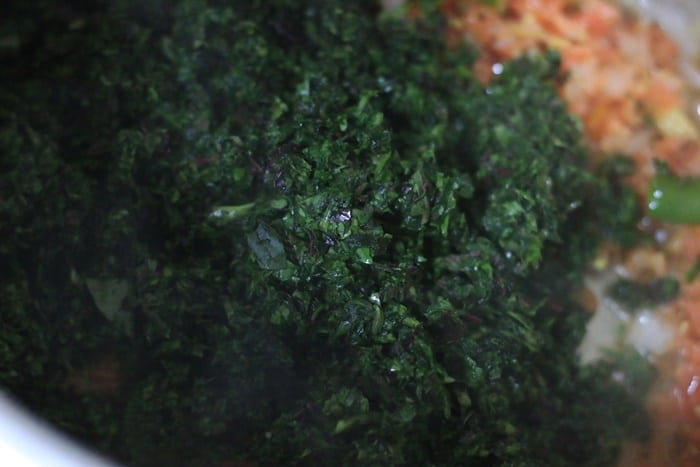 mixed greens added for chana saag