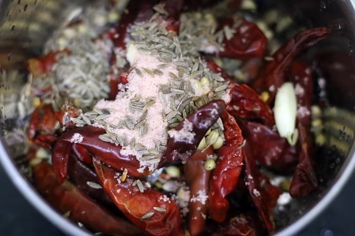 All the other ingredients added to red chilies