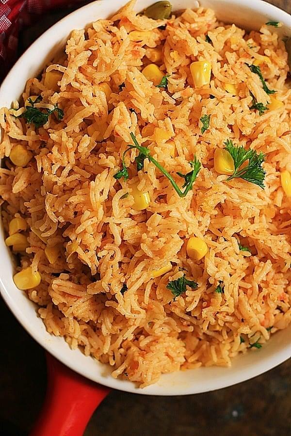 closeup shot of vegetarian Spanish rice