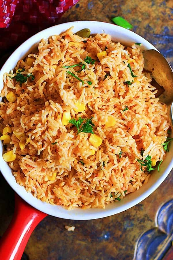quick and comforting spanish rice or arroz rojo ready to serve.