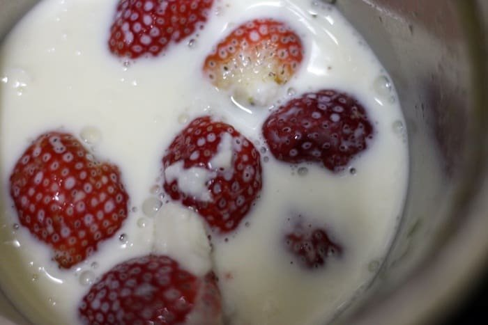 vegan milk added to berries in blender jar