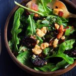 roasted beet salad with arugula leaves in a balsamic dressings