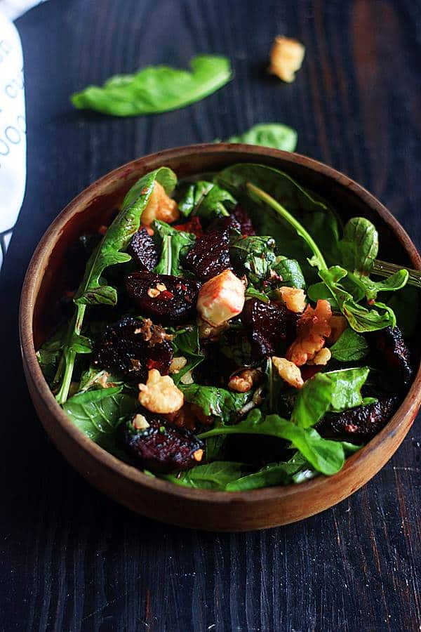 fresh and delicious beet arugula salad