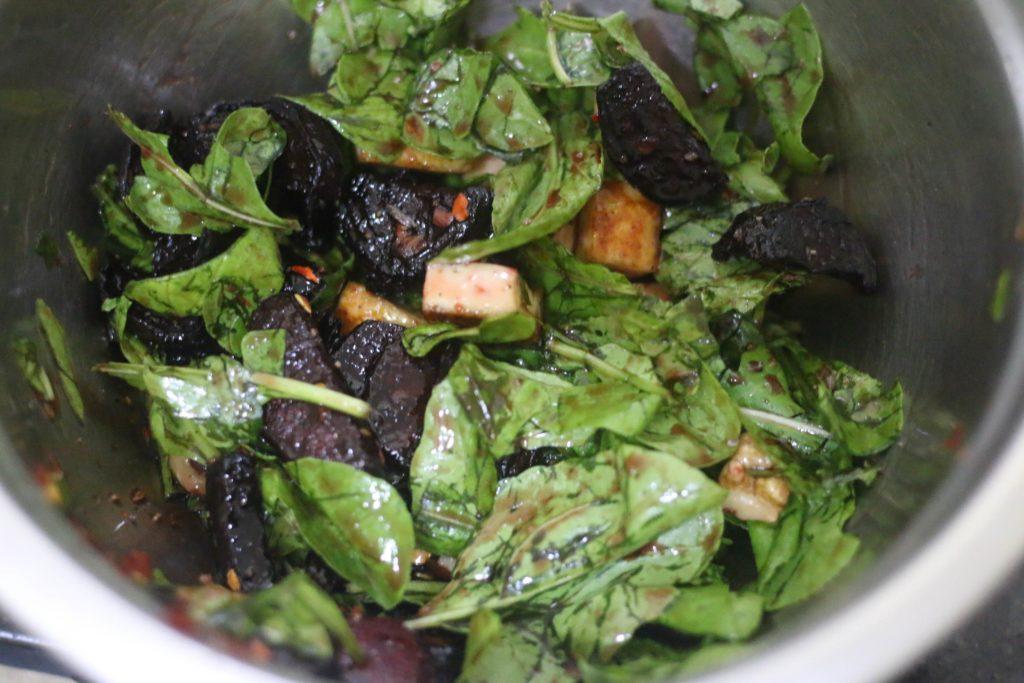 dressing tossed to beet salad ingredients