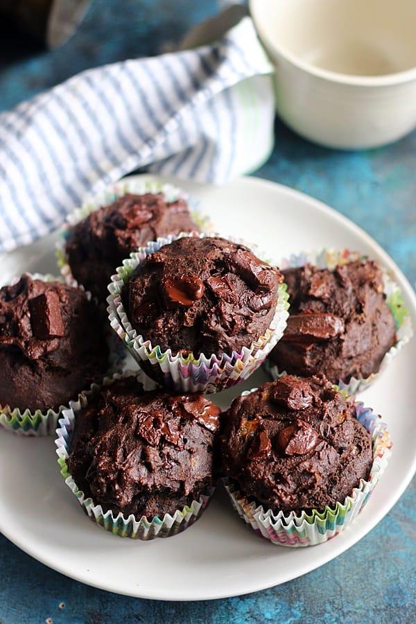 Homemade fresh whole wheat chocolate banana muffins-vegan
