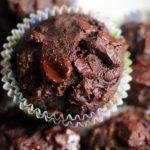 closeup shot of banana chocolate muffins