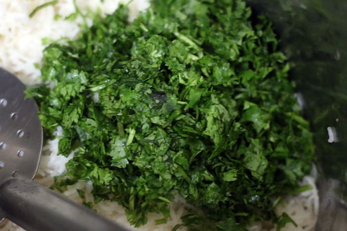 lime juice and chopped cilantro leaves added to cooked basmati rice