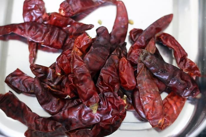 dry red chilies stalks removed