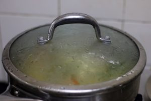 cooking vegetables in a closed pan.