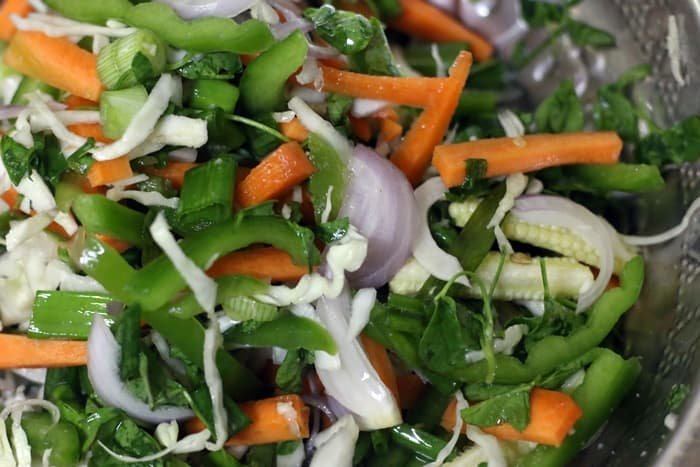 Salted vegetables that have released some water