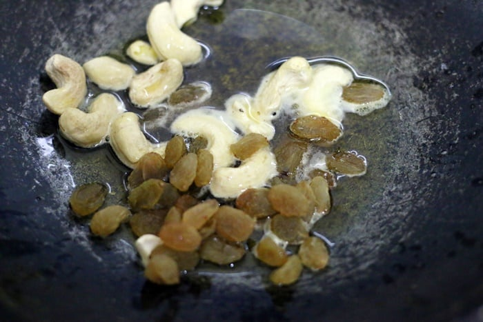 roasting cashews and raisins in ghee