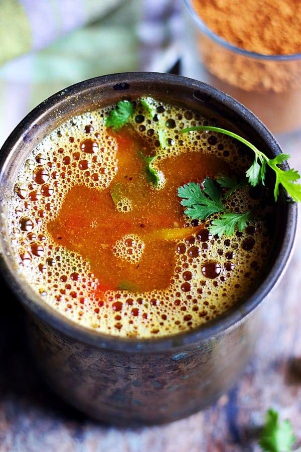 closeup shot of tomato rasam or thakkali rasam