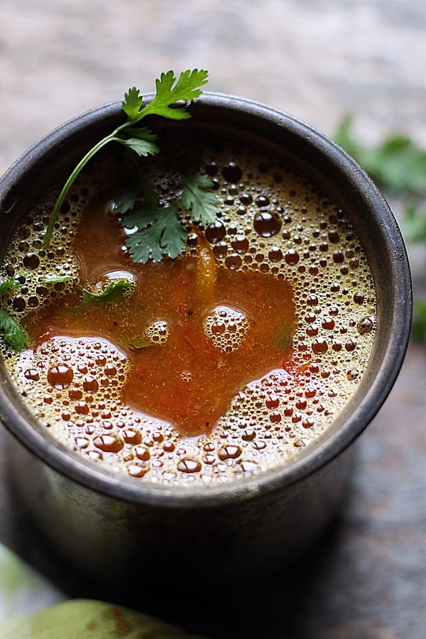 tomato rasam ready to be served