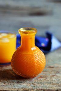 mango squash in a glass jar