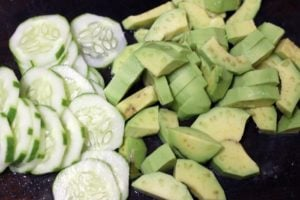 chopped avocados and cucumbers for salad
