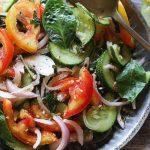 closeup shot of tomato basil salad