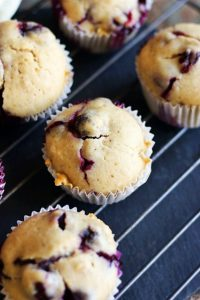 cooling blueberry muffins in wire rack