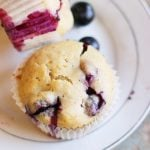 closeup shot of homemade vegan blueberry muffins