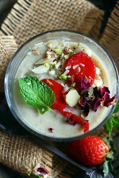 Homemade vanilla pudding served with fresh fruits