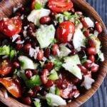 closeup of kidney bean salad in a wooden bowl