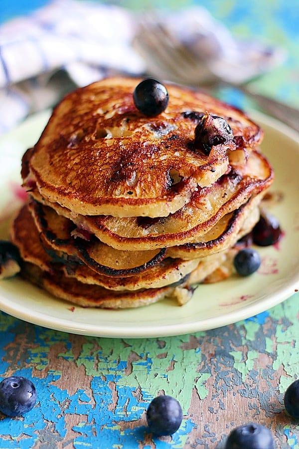 stack of homemade vegan blueberry pancakes