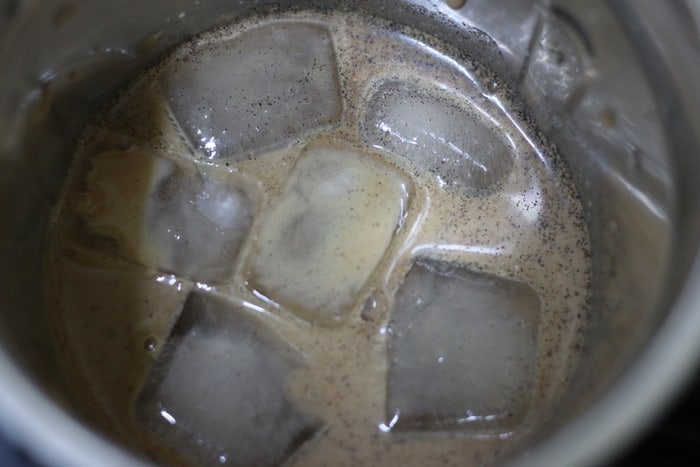 ice cubes added