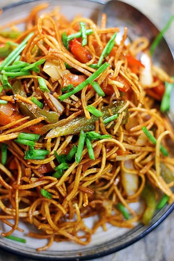 closeup shot of homemacde crispy Chinese bhel