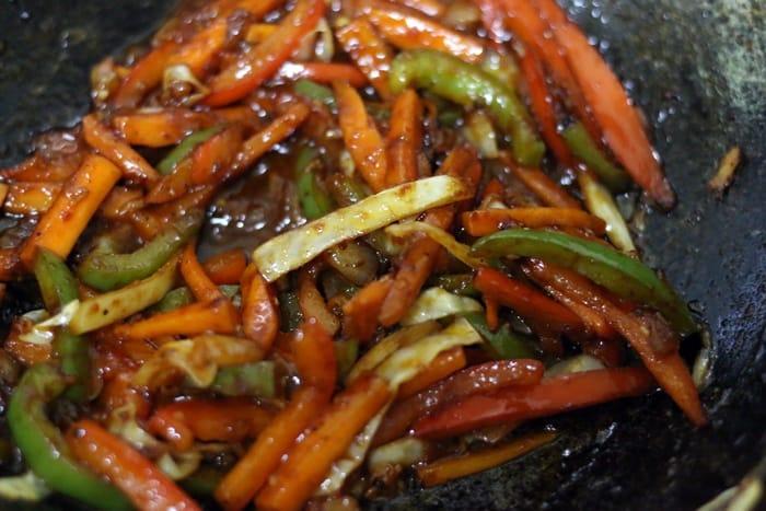 stir fried vegetables for chinese bhel