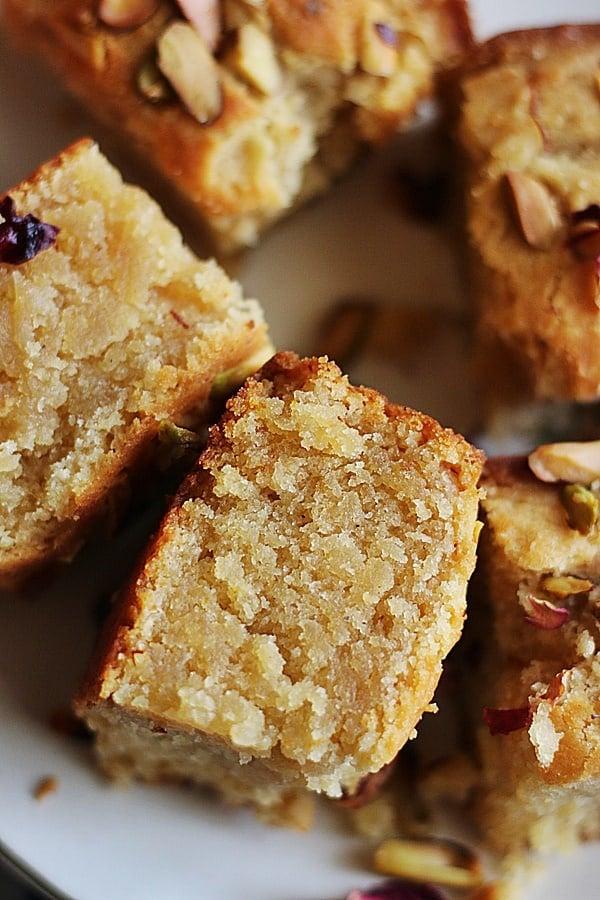closeup of gulab jamun cake